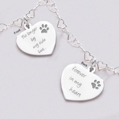 Silver Hearts Pet Loss Necklace | Someone Remembered